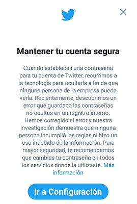 Cambiar claves Twitter
